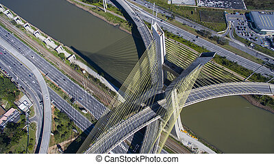 Cable-stayed bridge in the world, S?o Paulo Brazil, South...