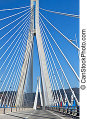 cable stayed bridge of Patras city in Greece. Also called Rion-Antrion bridge.
