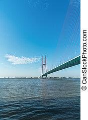cable stayed bridge on yangtze river in jiujiang