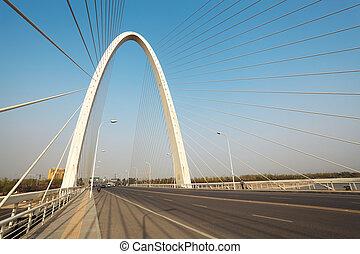 cable stayed bridge ,pylon arches background