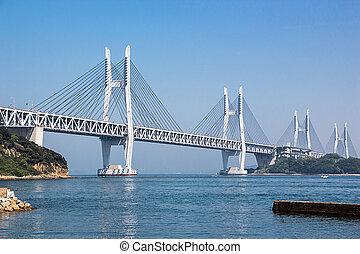 cable stayed iwakurojima bridge , member of Seto-ohashi ...
