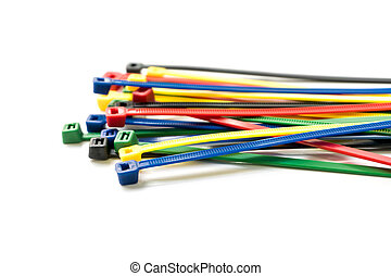 Cable ties isolated on white background. Colorful cable tie isolated