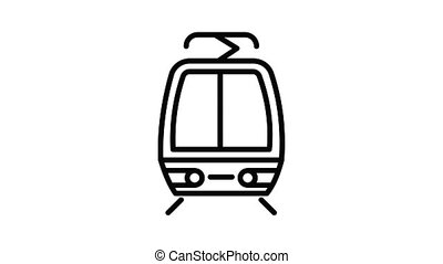 Cable tram car icon animation outline best object on white background