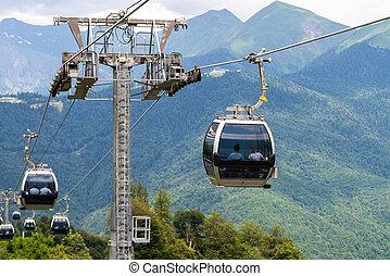 cable, verano, coche, o, ferrocarril, montañas