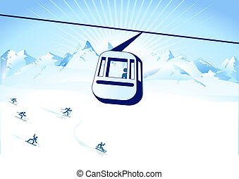cable-way, sports hiver