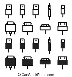 Cable wire computer and plug icons set