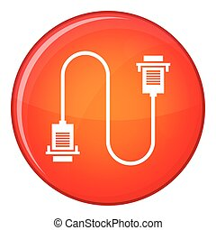 Cable wire computer icon, flat style
