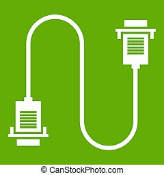 Cable wire computer icon green