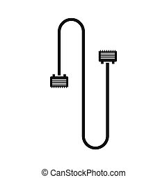 Cable wire computer icon, simple style