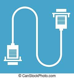 Cable wire computer icon white
