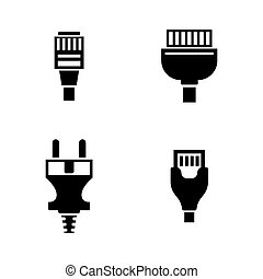 Cable Wire Computer Plug. Simple Related Vector Icons Set...