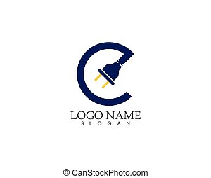Cable with plug electricity icon logo vector
