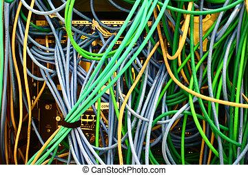 cableado, arnés, conectado, interruptor, ethernet, cables