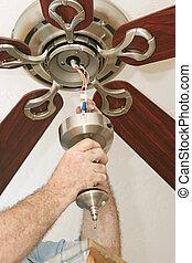 cableado, ventilador del techo