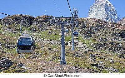 cablecar, matterhorn, suizo, iconic, emblema, alpes