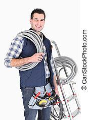 cablegrafiar, trabajo, electricista