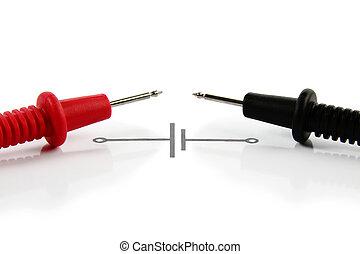 cables, de, multímetro, y, eléctrico, esquema