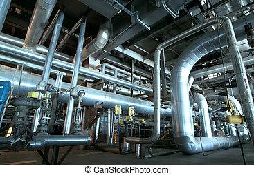cables, dentro, equipo, moderno, fundar, industrial, potencia, tubería, planta