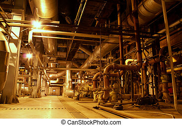 cables, dentro, equipo, moderno, fundar, industrial, ...