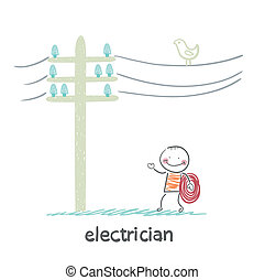 cables, poste, electricista, colocado