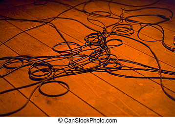 Cables - Guitar cables on the podium