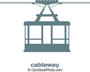 cableway., cabana, image., element., imagem, vetorial, desenho, construction., monocromático, estoque, ropeway, detalhes
