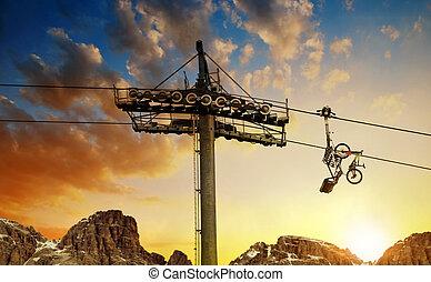 cableway, coloridos, sky., bicicleta, pôr do sol, declive