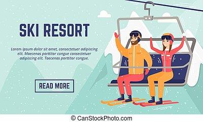 cableway, couple, resort., ?aucasian, utilisation, skieurs, ski