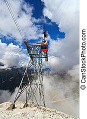 cableway in Italian Dolomites
