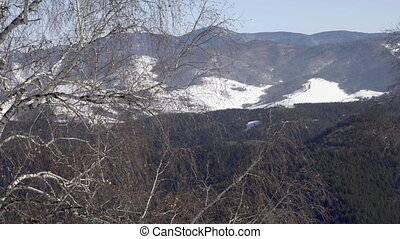 Cableway in the mountains - Winter mountains panorama with...