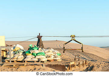 Cableway infrastructure at Guano island near Longbeach in Namib Desert