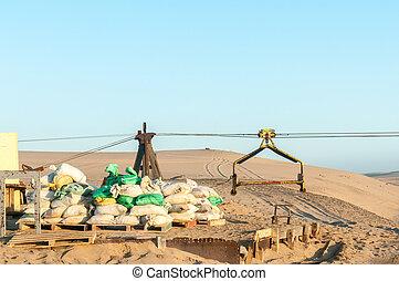 Cableway infrastructure at Guano island near Longbeach in Namib Desert
