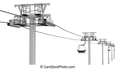 Cableway isolated on white background. 3d render image