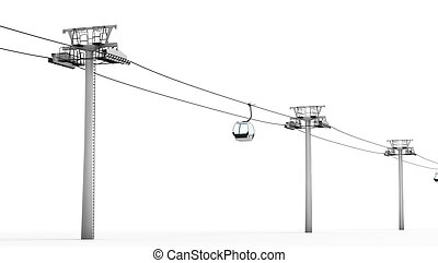 Cableway isolated on white background. 3d rendering