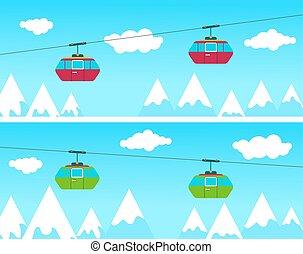 cableway, montagne, ski