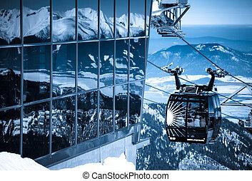 cableway, montagnes, février, tatras, jasna, moderne, -,...