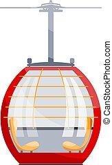 cableway, montanha, cabo, transport., cor, car, imagem, ilustração, experiência., vetorial, branca, cabana