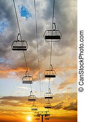 cableway, pôr do sol, coloridos, sky.