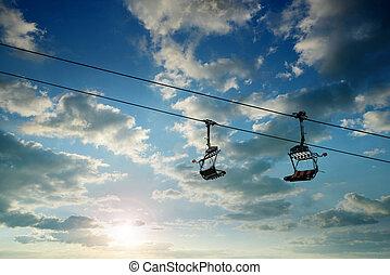 cableway, pôr do sol, sky.