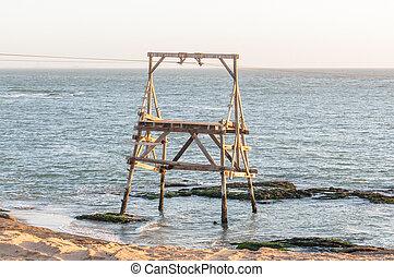Cableway pylon at Guano island near Longbeach in Namib Desert