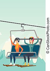 cableway, resort., deux, utilisation, skieurs, ski, caucasien