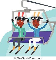 cableway, resort., deux, utilisation, skieurs, ski, heureux