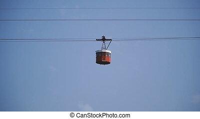 cableway, voiture., ciel, contre, câble