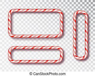 cabo, 2019., illustration., quadro, em branco, isolado, doce, torcido, decor., realístico, vetorial, frame., ano, novo, branca, feriado, desenho, natal, vermelho, set.