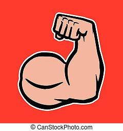 cabo, bodybuilder, forte, bíceps, braço