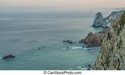 Sea and cliffs edge Cabo da Roca, forms the westernmost mainland of continental Europe. Portugal