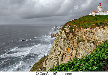 Cabo da Roca Lighthouse, the end of Europe - Wide angle view...