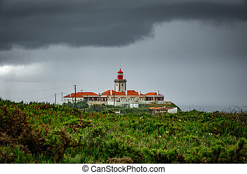 Cabo da Roca Lighthouse under the storm - Lighthouse in Cabo...