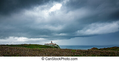 Cabo da Roca Lighthouse under the storm, wide angle - Wide...