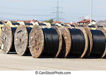 cabo, de, um, linha poder